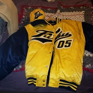 Blue and yellow fubu jacket size xl